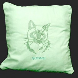 Coussin brodé-Chat