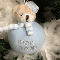 boule de Noël peluche ourson bleu