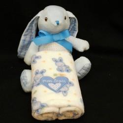 Peluche lapin bleu et son plaid