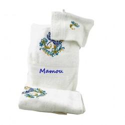 Ensemble serviettes de bain blanches brodées