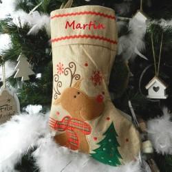 Botte de Noël toile de jute-renne