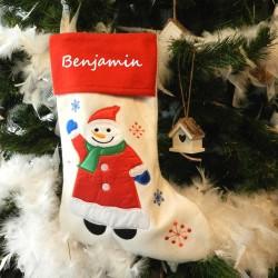 Botte de Noël en feutrine-Bonhomme de neige