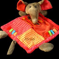doudou éléphant multicolor