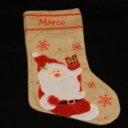 Botte ou chaussette de Noël en toile de jute-Père-Noël